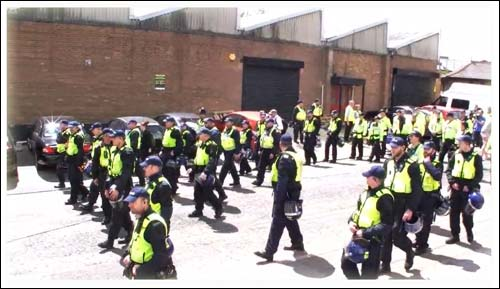 Britain First - 2015 - March in Luton with massive police protection